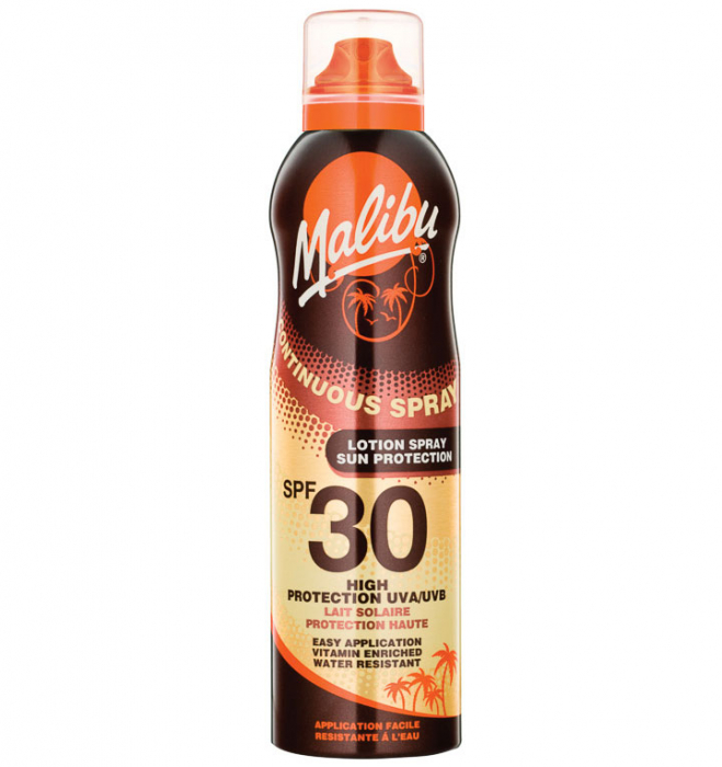Lotiune Spray MALIBU Continuous Spray, Rezistenta la apa, UVA/UVB, SPF30, 175 ml-big