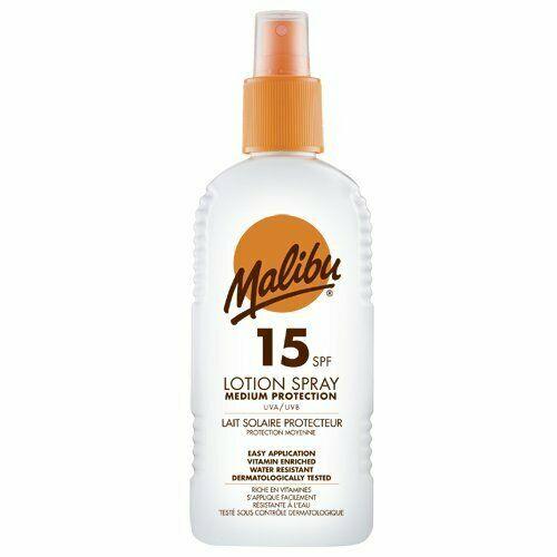 Lotiune Spray MALIBU cu Vitamina E si B5, Rezistenta la apa, UVA/UVB, SPF15, 200 ml-big