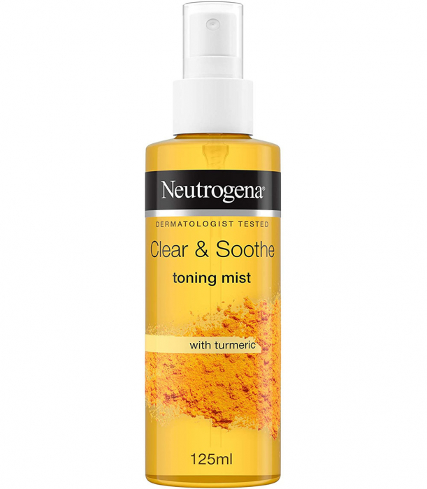 Lotiune Tonica Spray cu Turmeric pentru ten sensibil, patat si acneic NEUTROGENA Clear & Soothe Toning Mist, 125 ml-big