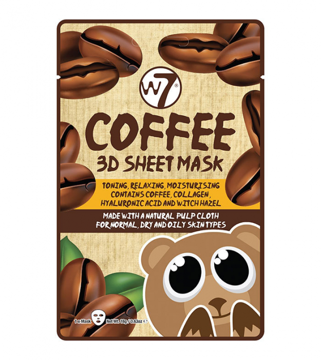 Masca cu Cafea, Colagen si Acid Hialuronic, W7 Coffee 3D Sheet Mask, 18 g-big