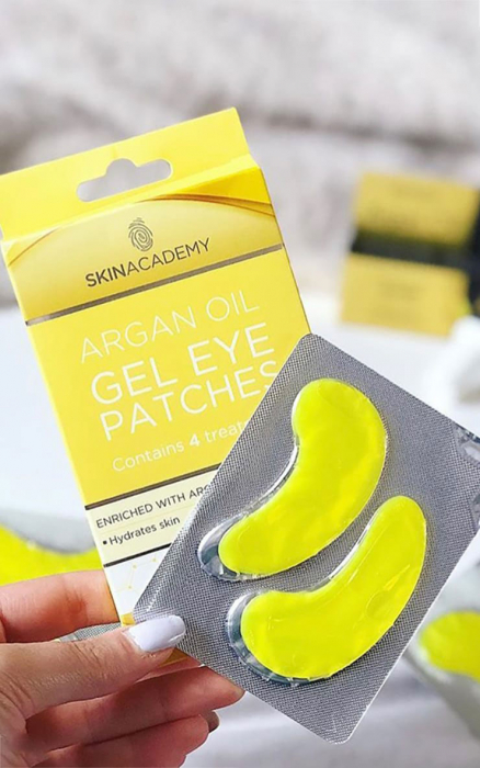Set Plasturi Tratament pentru ochicu Ulei de Argan SKIN ACADEMY Gel Eye Patches, 4 seturi (8 plasturi)-big