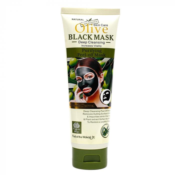 Masca de fata cu Carbune Activ, Masline si Vitamina E & B, Efect Intinerire, Fruit of the Wokali Olive BLACK Mask, 130 ml-big