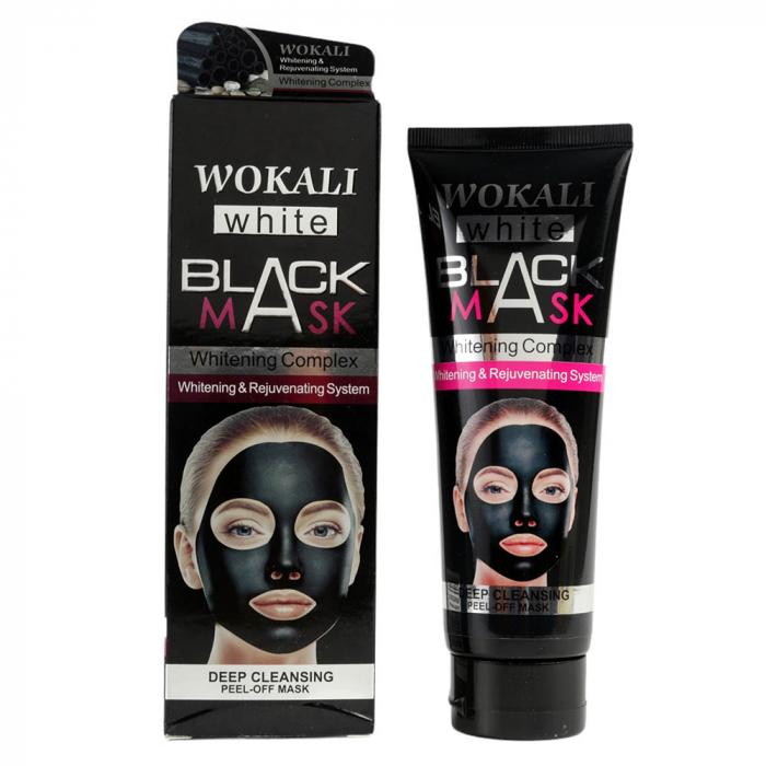 Masca neagra de fata anti-rid cu Argila Minerala, Vitamina A & E, Efect detoxifiant si de intinerire, WOKALI BLACK Mask, 130 ml-big