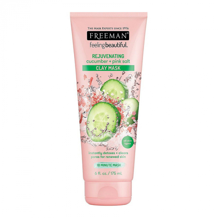Masca detox cu efect de intinerire FREEMAN Rejuvenating Cucumber + Pink Salt Clay Mask, 175 ml-big