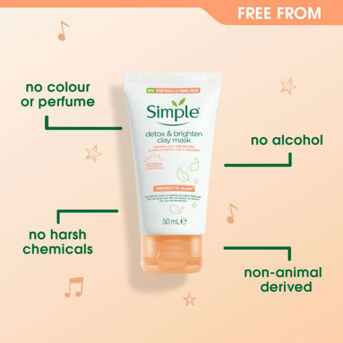 Masca faciala cu argila naturala, ghimbir organic si Vitamina C, Simple DETOX & Brighten Clay Mask, 50 ml-big
