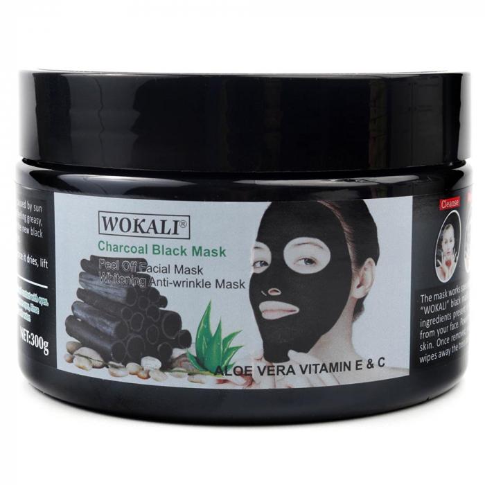 Masca neagra pentru indepartat punctele negre, punctele de grasime, efect anti-rid, Wokali cu carbune activ, 300 g-big