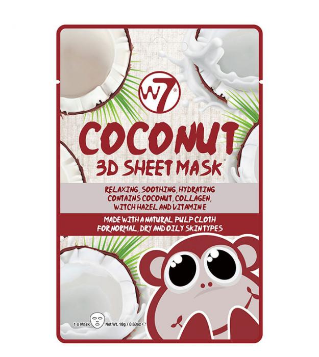 Masca cu Cocos, Colagen si Vitamina E, W7 Coconut 3D Sheet Mask, 18 g-big