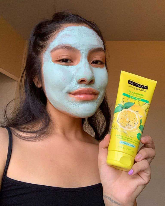 Masca pentru tenul gras FREEMAN Oil Absorbing Mint + Lemon Clay Mask, 175 ml-big