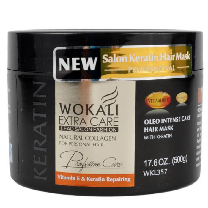 Masca Profesionala pentru Par cu KERATINA, Colagen si Vitamina E, Wokali Extra Care SALON, 500 g-big