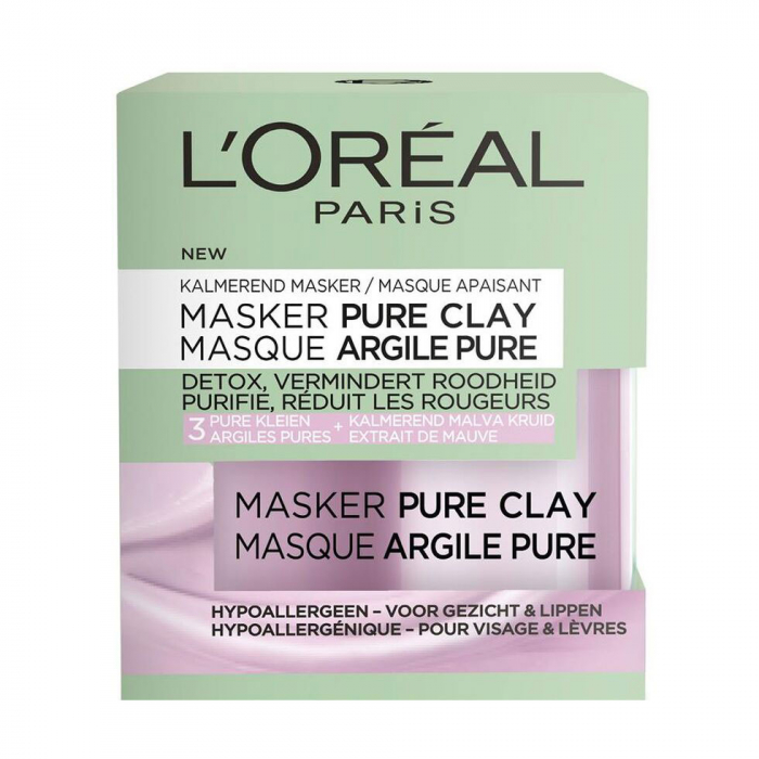 Masca detox anti-roseata, reduce excesul de sebum, ten sensibil, L'Oreal Paris Pure Clay, 50 ml-big