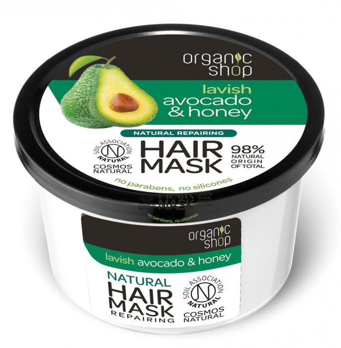 Masca reparatoare pentru par cu Miere si Avocado, Organic Shop Hair Mask, Ingrediente 98% Naturale, 250 ml-big
