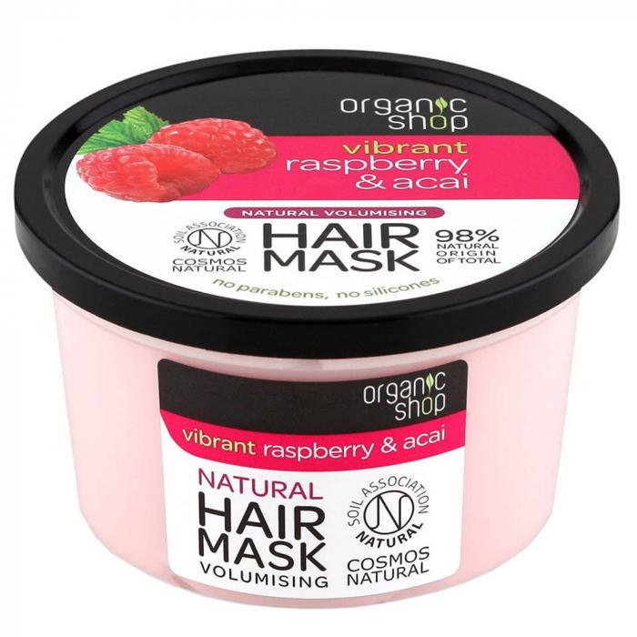 Masca pentru par cu Zmeura si Fructe Acai, Organic Shop Hair Mask, Ingrediente 98% Naturale, 250 ml-big