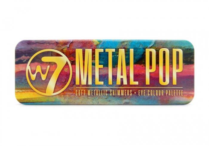 Paleta farduri W7 Metal Pop Soft Metallic Shimmers, 12 culori metalice, 15.6 g-big
