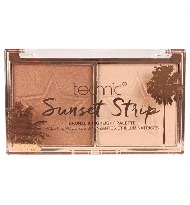 Paleta Iluminatoare Bronzanta TECHNIC Sunset Strip Bronze & Highlight Palette-big