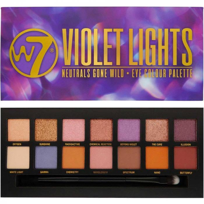 Paleta farduri W7 Violet Lights Neutrals Gone Wild, 14 culori, 9.6g-big