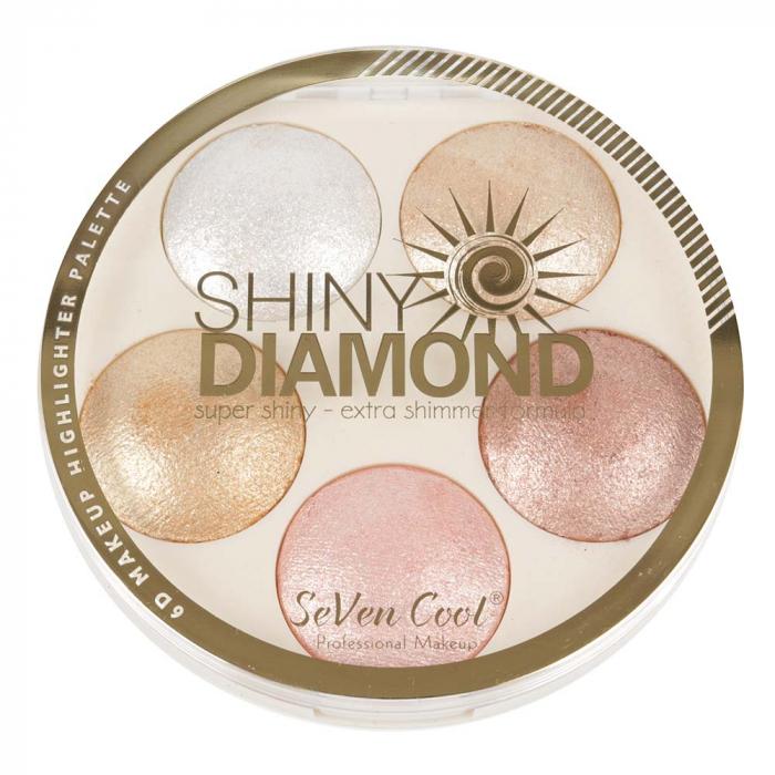 Paleta Profesionala Iluminatoare, Shiny Diamond 5 Color Highlighter Palette 3D, 15 g-big