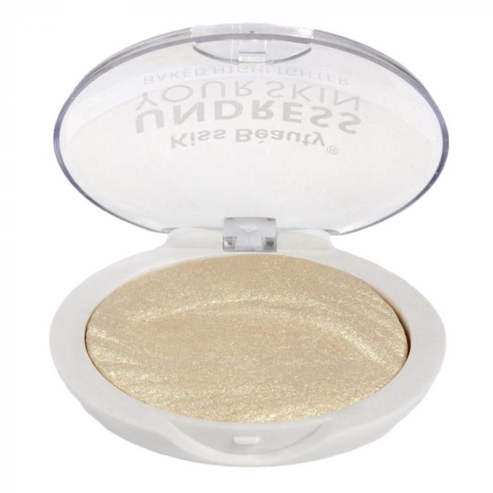 Paleta Iluminatoare Kiss Beauty UNDRESS Your Skin Baked Highlighter, 01 Gold Vanilla, 15 g - Copie-big