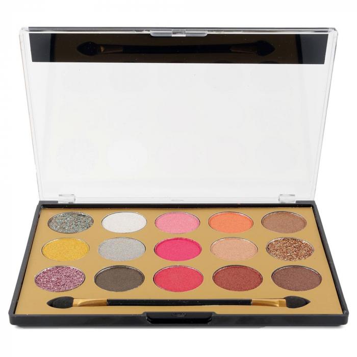 Paleta Profesionala de Farduri MISS ROSE, 15 Color Eyeshadows Kit, 01-big
