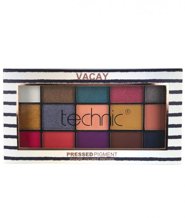 Paleta Profesionala de Farduri Technic 15 Pressed Pigment Palette, Vacay, 15 Culori, 22.5 g-big