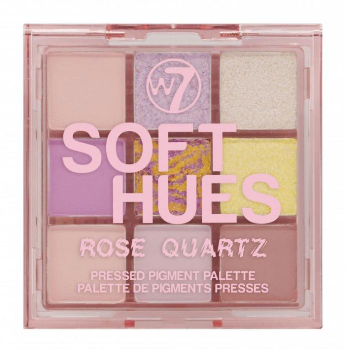 Paleta Profesionala de Farduri W7 Soft Hues Pressed Pigment Palette, Rose Quartz, 9 culori, 8.1 g-big