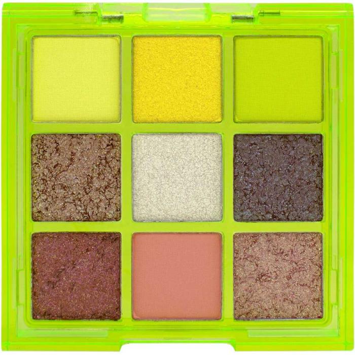 Paleta Profesionala de Farduri W7 Vivid Pressed Pigment Palette Glowin' Green, 9 culori, 9 g-big