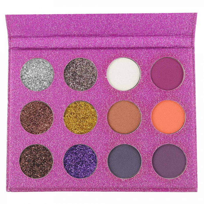 Paleta Profesionala de Glittere si Farduri, 12 Color Glitter & Metallic Eyeshadow, Purple-big
