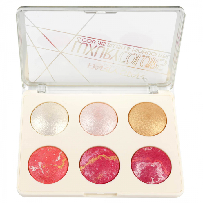 Paleta Profesionala Iluminatoare, Party Star LUXURY, 6 Colors Blush & Highlighter, 18 g-big