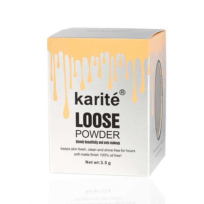 Iluminator pudra cu pompita Vintage, Karite Loose Powder, 02 Argintiu, 3.5 g-big
