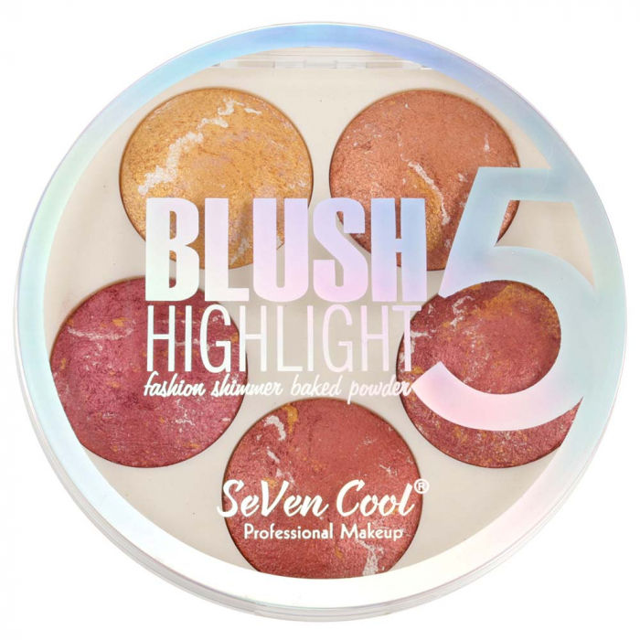 Paleta Profesionala Blushuri Iluminatoare, Seven Cool Blush 5 Color Highlighter Palette, 15 g-big