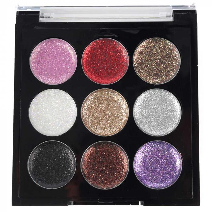 Paleta Sclipici cu 9 Glittere Multifunctionale USHAS Rainbow Glitter, 02-big