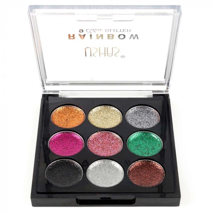 Paleta Sclipici cu 9 Glittere Multifunctionale USHAS Rainbow Glitter, 03-big