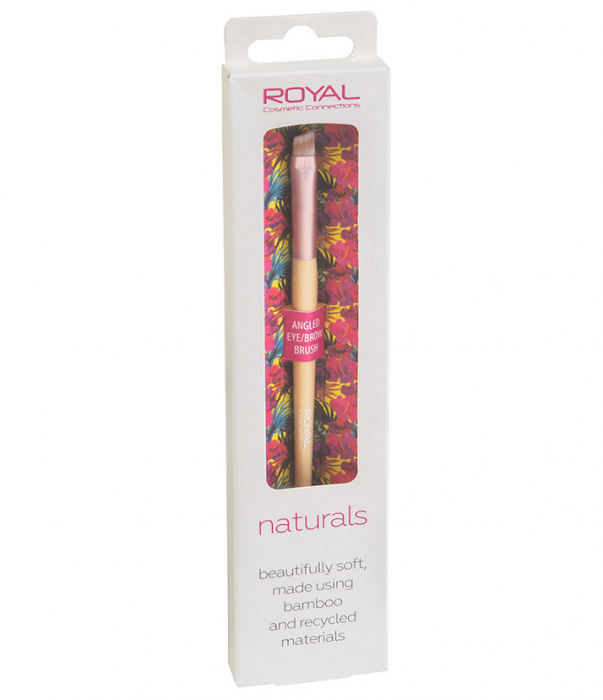 Pensula unghiulara din bambus pentru sprancene ROYAL Natural Angled Eye/Brow Brush, 100% Eco-friendly-big