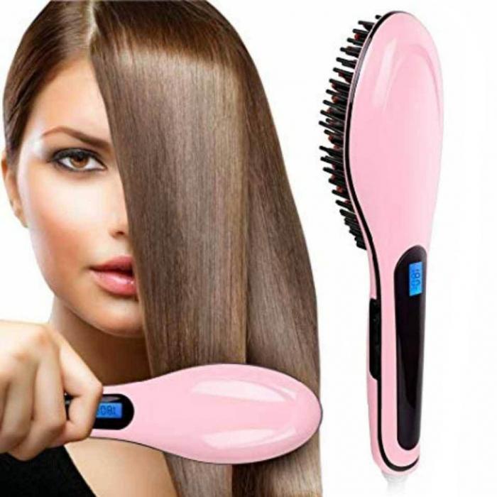 Perie ceramica cu display LCD pentru indreptat parul Fast Hair Straightener HQT, roz-big