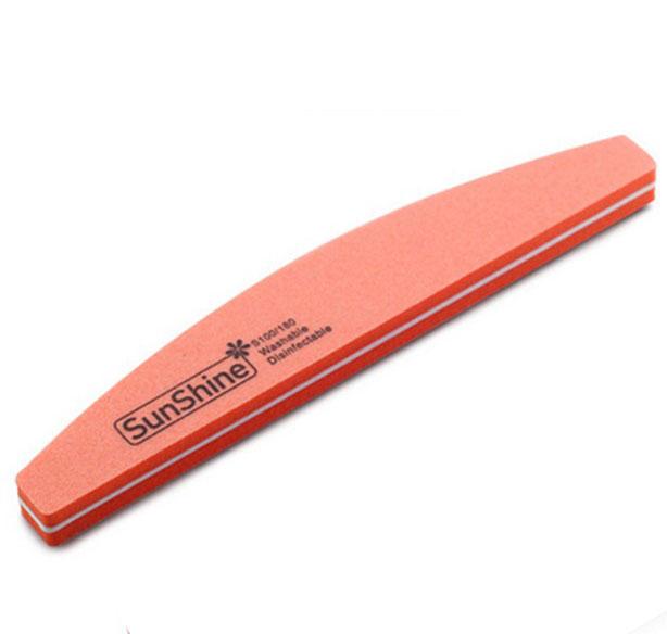 Pila profesionala lavabila pentru unghii SunShine, granulatie 100/180, tip semiluna, Pink Candy-big
