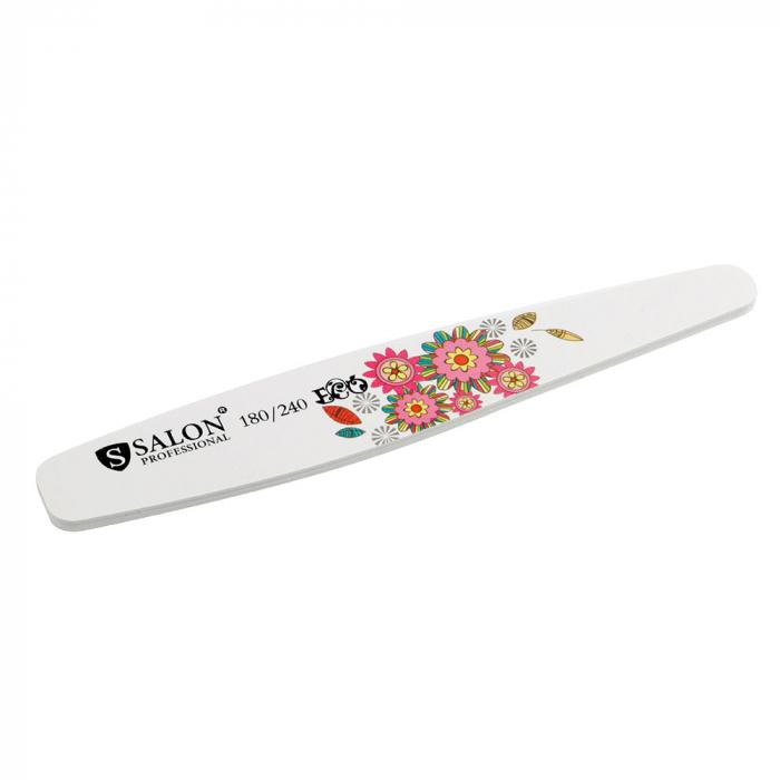 Pila profesionala pentru unghii Salon Professional, granulatie 180/240, tip banana, model floral-big