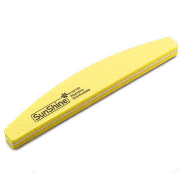 Pila profesionala lavabila pentru unghii SunShine, granulatie 100/180, tip semiluna, Lemon-big