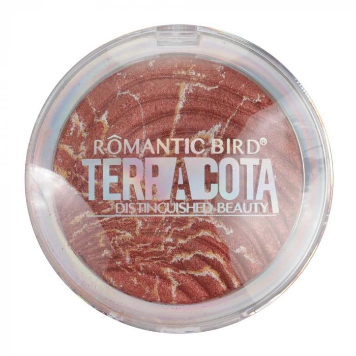 Fard de obraz cu particule iluminatoare, Romantic Bird TERRACOTTA, 02 Rusty Rose, 12 g-big