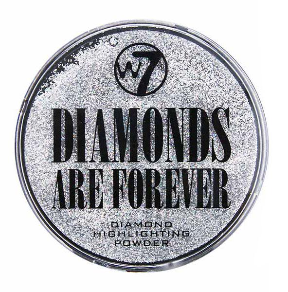 Pudra iluminatoare W7 Diamonds Are Forever Highlighting Powder, Particule Argintii-big
