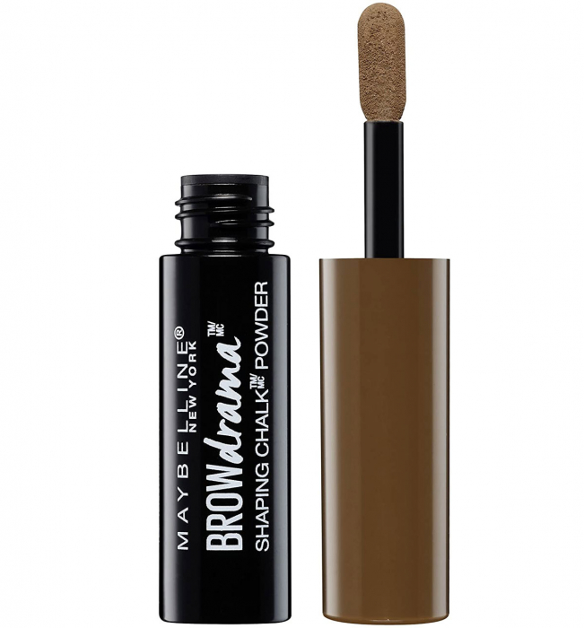 Pudra pentru sprancene Maybelline New York Brow Drama Shaping Chalk, 130 Deep Brown, 1 g-big