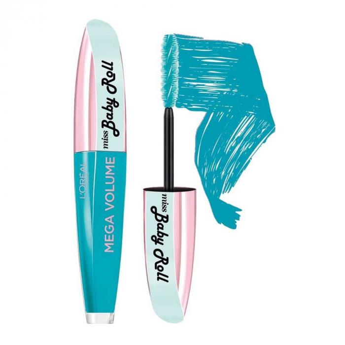 Rimel L'Oreal Paris Miss Baby Roll Mega Volume Mascara, Teal Blue, 9.1 ml-big