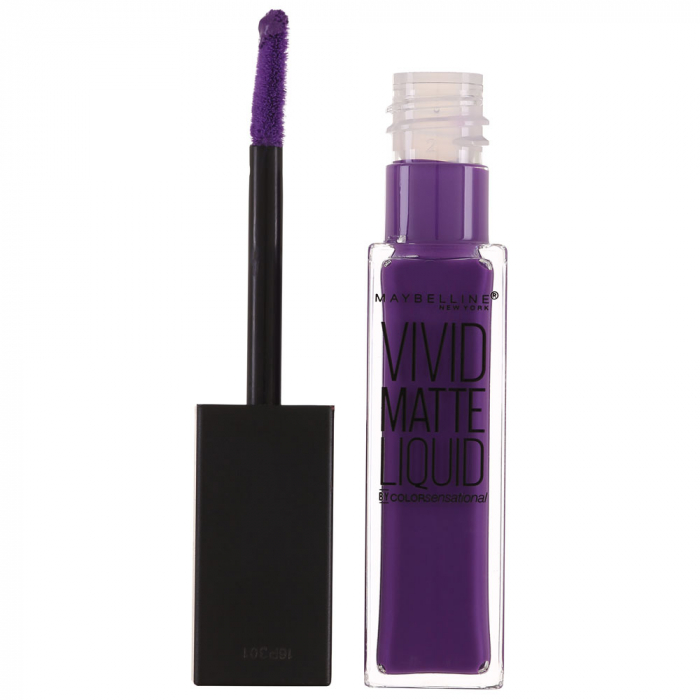 Ruj lichid mat Maybelline New York Color Sensational Vivid Matte Liquid, 43 Vivid Violet, 8 ml-big