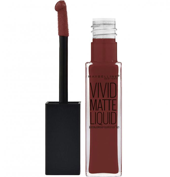 Ruj lichid mat Maybelline New York Color Sensational Vivid Matte Liquid, 37 Coffee Buzz, 8 ml-big