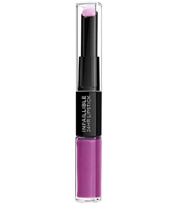 Ruj lichid rezistent la transfer L'Oreal Paris Infaillible 24H Duo Lip, 216 Permanent Plum, 5.6 ml-big