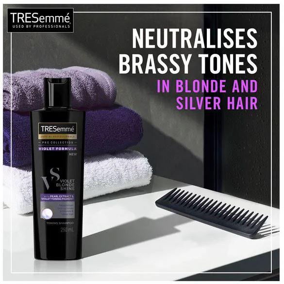 Sampon profesional tonifiant cu extract de perle si pigment violet TRESemme' Violet Blond Shine, pentru par blond sau argintiu, 250 ml-big