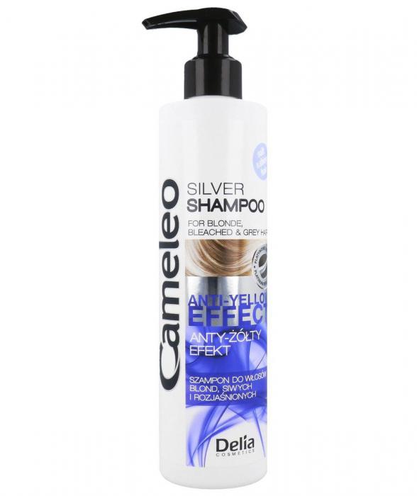 Sampon argintiu Delia Cameleo pentru par blond si gri, cu efect anti-galben, 250 ml-big