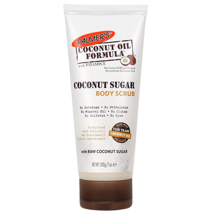 Scrub de corp cu zahar raw de nuca de cocos, PALMER'S Body Scrub Coconut Oil Formula, Vitamina E, 200 g-big