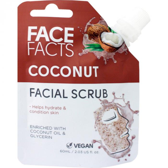Scrub Facial cu Cocos FACE FACTS imbogatit cu Vitamina C si Glicerina, 60 ml-big