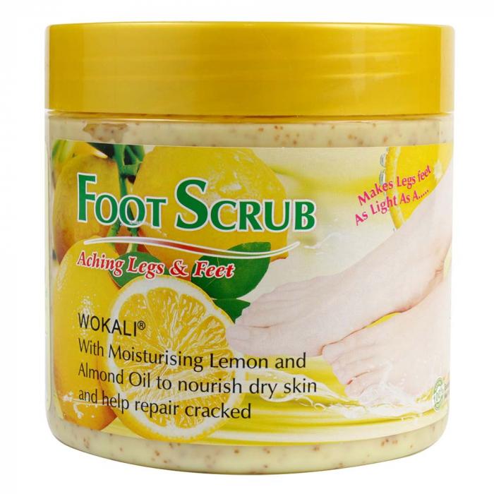 Scrub pentru picioare si talpi cu Lamaie si Ulei de Migdale, Ingrediente 100% Naturale, Wokali Foot Scrub, 500 g-big