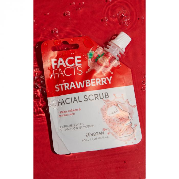 Scrub Facial cu Capsuni FACE FACTS imbogatit cu Vitamina C si Glicerina, 60 ml-big
