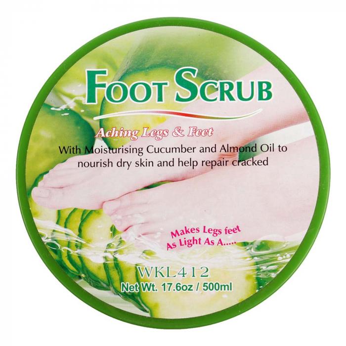 Scrub pentru picioare si talpi cu Castravete si Ulei de Migdale, Ingrediente 100% Naturale, Wokali Foot Scrub, 500 g-big